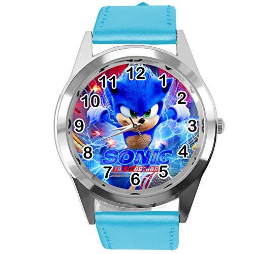 Quarzuhr blau Lederband rund für Sonic The Hedgehog Fans E4
