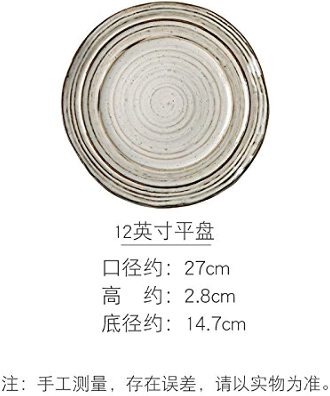 Assiette Plates Creuses à Pates Assiettes Thread The Pan Home Assiette Ronde Assiette Assiette Plaque De Bifteck à L'Occidentale, gris, 12 Pouces Plat