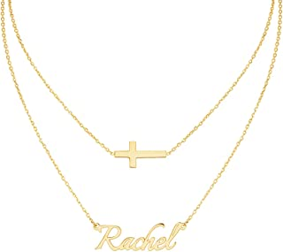 Layered 2 Names Necklace Personalized, Custom Double Chain Choker Necklace 18K Gold Plated Nameplate Charm Pendant for Mother