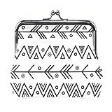 Monedero con diseño geométrico, color negro y blanco, con cierre de flecha para mujeres y niñas