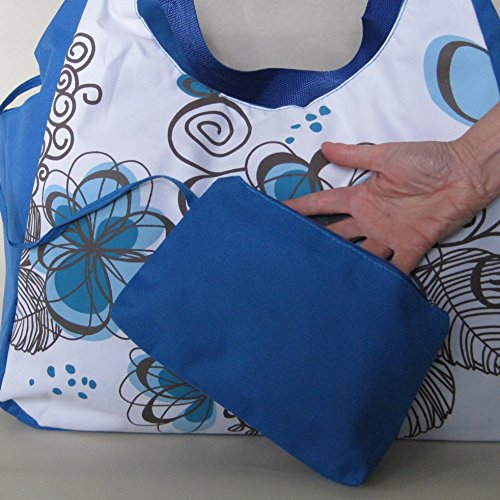 Extra Large Floral Canvas Beach Bag Blue, with zipper