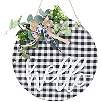 Super Holiday 12 Inch Wooden Hanging Round Hello Sign
