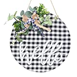 Super Holiday Wreath, 12Inch Wooden Hanging Round Sign, Welcome Sign Front Door Decor, Suitable for Porch, Farmhouse, Home Decor ,Wall,Black/White