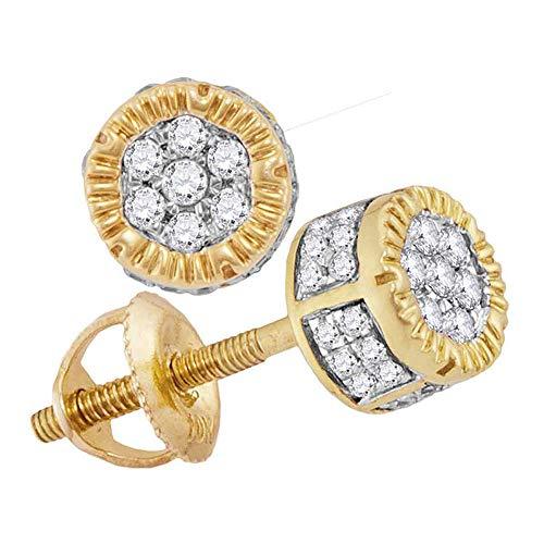 Saris and Things círculo 3d para hombre en oro amarillo de 10 k diamante redondo cluster pendientes de 1/4 cttw