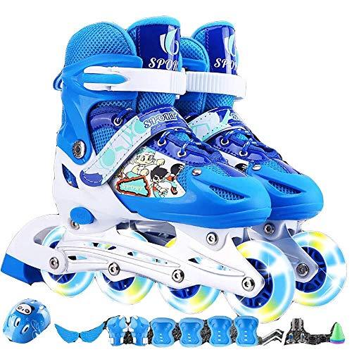 Für alles dankbar Kinder einstellbar Inline-Skates Rollschuhe Kinder Single Flash PVC-Set Rollschuhe Color : Blue, Size : M(33-37)