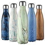 Liveup SPORTS Bottiglia a Doppia Parete Termoisolante Bottiglia d'Acqua da 500 ml Senza BPA Tritan Bottiglia di Acqua Detox- Frantumare-Resistente Sport Borracce Thermos