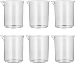 BESTOMZ Plastic Graduated Beakers Transparent Lab Measuring Cup 100mL Set of 6