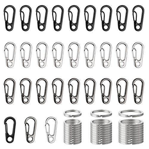 Metal Flat Key Rings Mini Carbines Spring Snap Clasps for Climbing Camping Survival Backpack Bottle Hooks