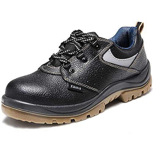 Zapatos de Seguridad Calzado de seguro laboral de primavera y otoño,masculino,antigolpes,antipinchazos,antiestático,ligero,desodorante,adecuado para trabajos de soldadura eléctrica Calzado (35-46 UE)