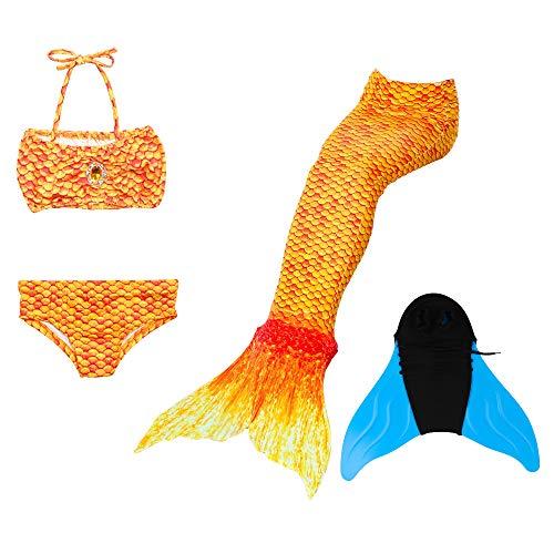 DNFUN Mädchen Meerjungfrau Schwänze mit Meerjungfrau Flossen mit Bikini Badebekleidung