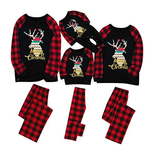 Christmas Family Pajamas Suit, SHOBDW Parent-Child Clothes Set Xmas Women Men Toddler Baby Kids Plaid Printed Romper Jumpsuit Long Sleeve Tops Pants Outfits Blouse Gifts(Red,Women/L)