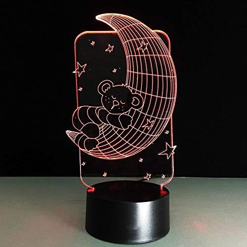Anime 3D Night Light LED Baby Room Light 3D Bear Moon Star Night Light Color-Cambia de color de carton Table Lamp Bedside Sleepside Light Novelty Christmas gift Birthday gifts for Children