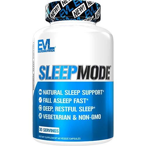 Evlution Nutrition Sleep Mode, Fall Asleep Faster, Melatonin, GABA, Valerian Root & More, Natural Aid for Deeper Sleep & Relaxation, 60 Vegetarian Capsules
