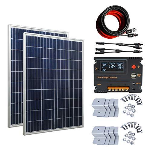 ECOWORTHY Kit de panel solar fuera de la red de 200W 12V / 24V: 2pcs 100W Panel solar + 20A Controlador de carga para el sistema de carga de 12V o 24V en la caravana del automóvil en casa