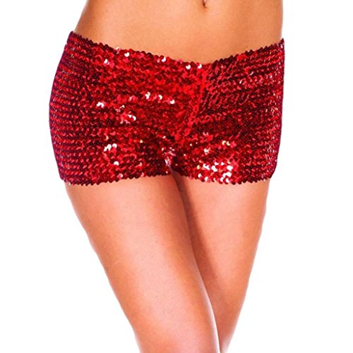 Pailletten Shorts Luckycat Sommerhosen Damen Kurz Mode Frauen Hohe Taille Yoga Shiny Sport Hosen Shorts Metallic Hosen Leggings Shorts Hose Sommerhosen Pants Hosen (Rot, Small)