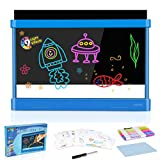 Obuby Kids Light Up Drawing Board UltimateMagic Tracing Pad Doodle Tablet Glow Coloring Draw Writer9 LED Lighted EffectsEducational Art Toys Learning Gifts for Toddler Boys Girls(Blue)