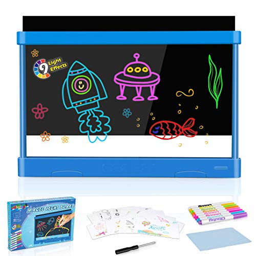 Obuby Kids Light Up Drawing Board Ultimate Magic Tracing Pad Doodle Tablet Glow Coloring Draw Writer 9 LED Lighted Effects Educational Art Toys Learning Gifts for Toddler Boys Girls(Blue)