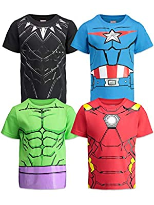 Marvel Avengers Boys 4 Pack T-Shirts Black Panther Hulk Iron Man Captain America 5T