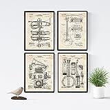 Nacnic Vintage - Pack de 4 Láminas con Patentes de Música. Set de Posters con inventos y Patentes Antiguas. Elije el Color Que Más te guste. Impreso en Papel de 250 Gramos