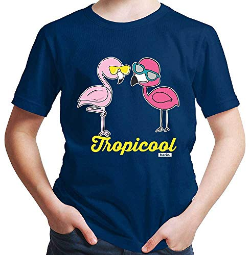 Hariz - Camiseta de manga corta para niño, diseño de flamencos azul marino 14 años