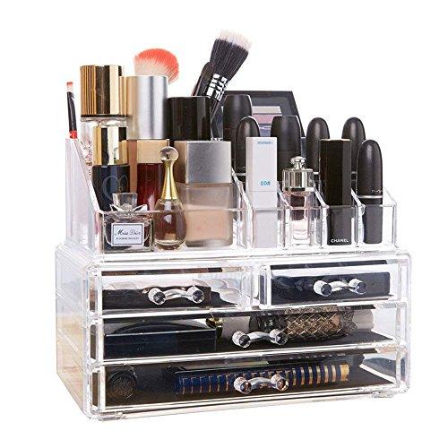 ソレイユ 化粧品収納ボックス メイクケース コスメ収納スタンド ジュエリーボックス 引き出し 透明アクリル ジュエリーボックス