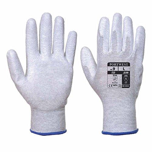 Portwest va199g7rm expendedoras antiestático sintética Palm guantes, Regular, tamaño: medio, color gris