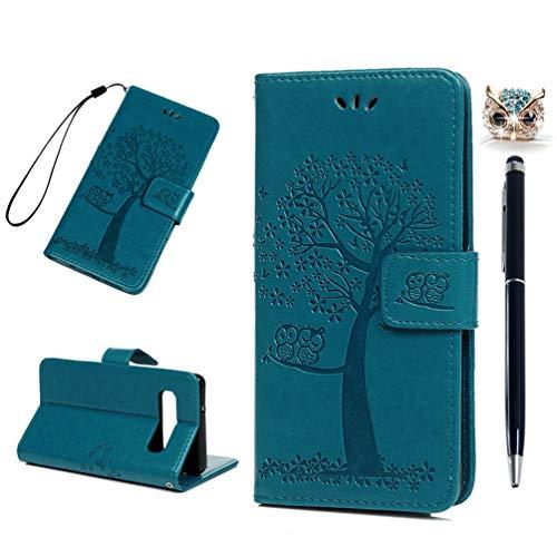 S10 Handyhülle Kompatible für Samsung Galaxy S10 Hülle Wallet Hülle Cover PU Leder Tasche Eule Baum Muster Flipcase Schutzhülle Handytasche Skin Ständer Klapphülle Schale Bumper Magnet-Türkis