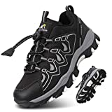 UOVO Turnschuhe Jungen Wasserdicht Wanderschuhe Sneakers Kinder Trekking Schuhe Outdoor Sportschuhe Laufschuhe Schwarz 39