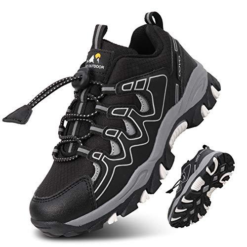 UOVO Turnschuhe Jungen Wasserdicht Wanderschuhe Sneakers Kinder Trekking Schuhe Outdoor Sportschuhe Laufschuhe Schwarz 37