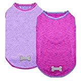 kyeese 2 Pack Dog Shirts Quick Dry Soft Stretchy Dog T-Shirts with Reflective Label Tank Top Sleeveless Vest Lightweight Dog Clothes