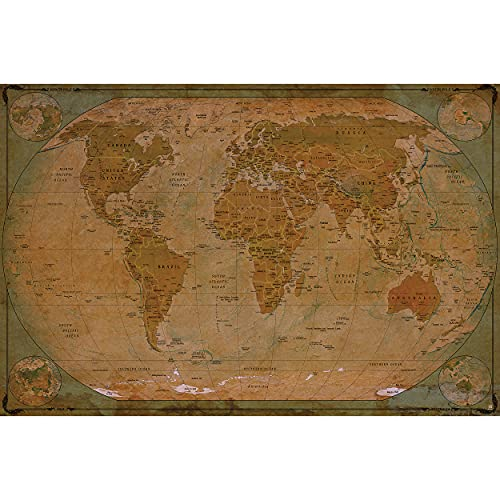 GREAT ART Poster � World Map Antique Style � Picture Decoration Globe Ancient Vintage Card Used Look Atlas Map Old School Image Photo Decor Wall Mural (55x39.4in - 140x100cm)