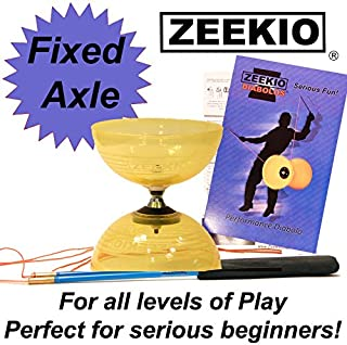 Zeekio Crystal Series Master Spin Diabolo - Fixed Axle, Durable Transparent cups, Comes with Sticks, String and Instructions. (Yellow)