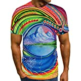 Women Men 3D Print Tees Tops Unisex Short Sleeve T Shirts Casual O Neck Tees Tops Funny Print Blouse Shirts Tops (Style 8, L)