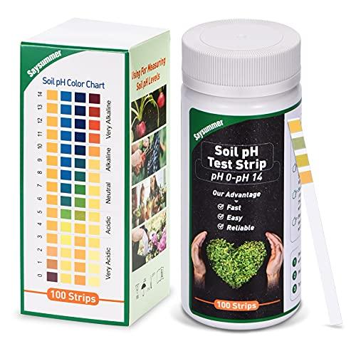 Saysummer Soil Test Strips, Soil Testing Kit, 0-14 PH Soil Test Strips Kit,...