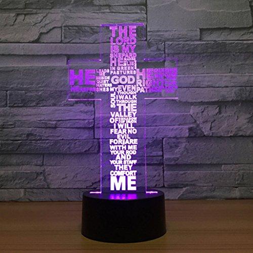 Nachtlicht für Kinder 3D Illusion Nachtlicht, Kreuz Moderne LED Tisch Schreibtischlampen, 7 Farben ändern Touch Control USB Lade Beleuchtung Schlafzimmer Home Decorative, beste Geschenkideen für Kinde