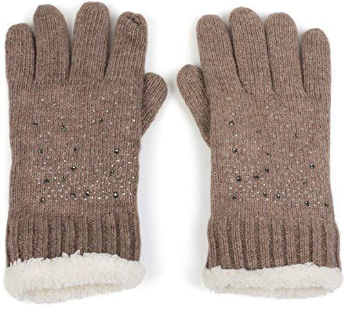 styleBREAKER Damen Handschuhe mit Strass und Fleece, warme Thermo Strickhandschuhe, Fingerhandschuhe, Winter 09010010, Farbe:Braun