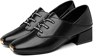おじ靴 レディース チャンキーヒール レースアップ オックスフォード パンプス 通勤 美脚 スクエアトゥ ローヒール 歩きやすい 黒 歩きやすい マニッシュシューズ レディース 太ヒール カジュアルシューズ ハンサム