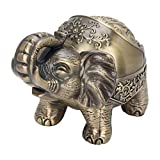 Posacenere vintage antivento con coperchio, posacenere unico in metallo elefante posacenere portatile in metallo eliminatore di odori interno esterno intagliato a mano elefante fortunato fantasia(#1)