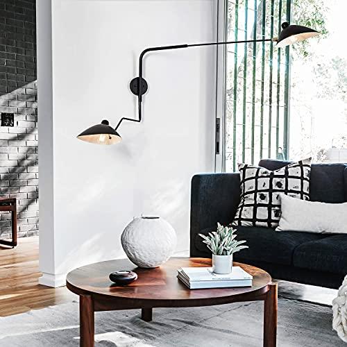 Lámpara de la vendimia largo Industrial Brazo de pared con interruptor ajustables...