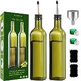 GMISUN 17oz Olive Oil Dispenser Bottle Set, Dark Green Olive Oil Bottles, Leakproof Oil and Vinegar Cruet for Kitchen Cooking, Oil Carafe Decanter W/No-Drip Spouts, Funnel,Caps & Labels, 2 Pack