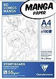 Clairefontaine 94038C Bloc Encollé Manga et Storyboard - 100 Feuilles Papier Esquisse Blanc A4...