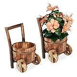 Relaxdays Jardinera de Madera, 2 Unidades, decoración de jardín, diseño Vintage, Carretilla para Plantar, 33 x 20 x 20 cm, Natural