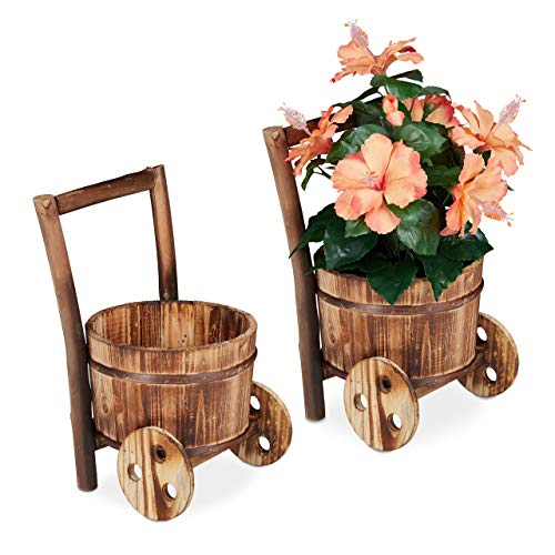 Relaxdays Carriole Portafiori in Legno, Set 2x Carretti Giardino, Porta Vasi dal Design Vintage, Giardinaggio, Naturale