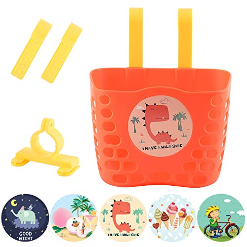 Struggling D Kid Bicycle Basket, Orange Front Handlebar Basket with Ice Cream/Peach/Elephant/Bicycle/Dinosaur Stickers for Kid Girls Bike Accessories Scooters Bag