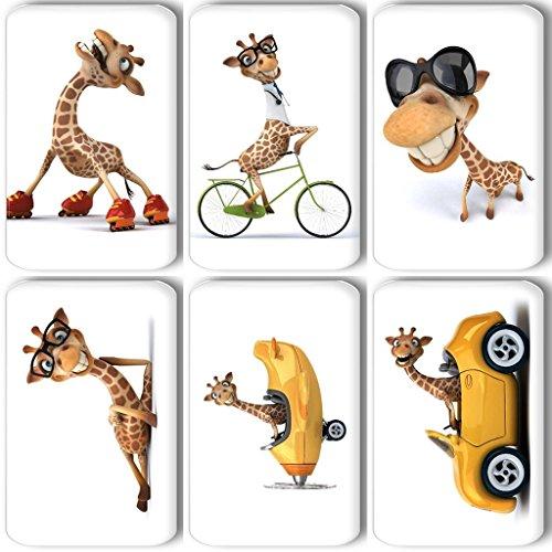 Merchandise for Fans Lustige Giraffe auf Rollschuhen/im Auto/im Flugzeug - 6 rechteckige Kühlschrankmagnete 7X 4,5 cm - 01 für Memoboard Pinnwand Magnettafel Whiteboard