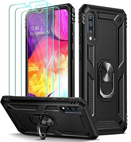 ivoler Funda para Samsung Galaxy A50 / A30S con [Cristal Vidrio Templado Protector de Pantalla *3], Anti-Choque Carcasa con Anillo iman Soporte, Hard Silicona TPU Caso - Negro