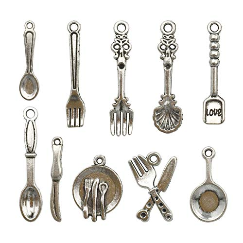 Youdiyla 98 PCS Tableware Charms Collection - Antique Silver Baking Cooking Baker Cook Chef Knife Fork Plate Pan Spoon Kitchen Tableware Metal Pendants for Jewelry Making DIY Findings (HM12)