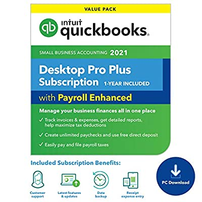 QuickBooks Desktop Pro with Enhanced Payroll 2021 Accounting Software for Small Business 1-Year Subscription with Shortcut Guide [PC Online code]
