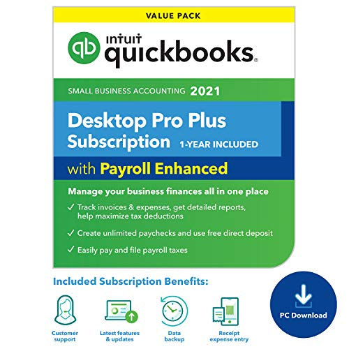 QuickBooks Desktop Pro Plus with Enhanced Payroll 2021 Accounting Software for Small Business 1-Year Subscription with Shortcut Guide [PC Download]
