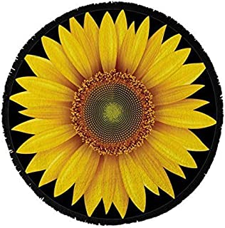 Round Towel Co. Sunflower Round Beach Towel 100% Cotton Roundie Mandala Flower Gypsy Beach